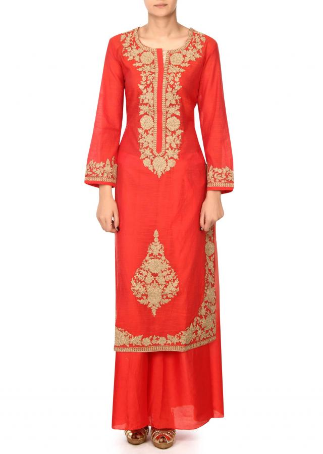 Red straight suit in zari embroidered placket only on Kalki