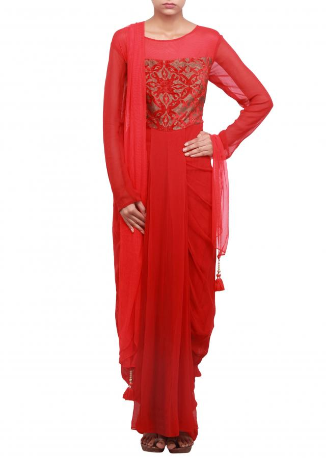 Red suit enhanced in pleats and cowl drape only on Kalki