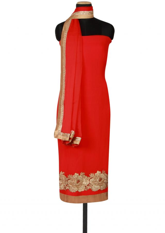 Red unstitched salwar kameez featured in georgette only on Kalki