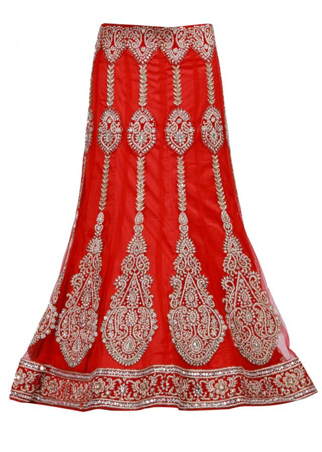 Red unstitched lehenga in stone and zardosi work-Hand Made