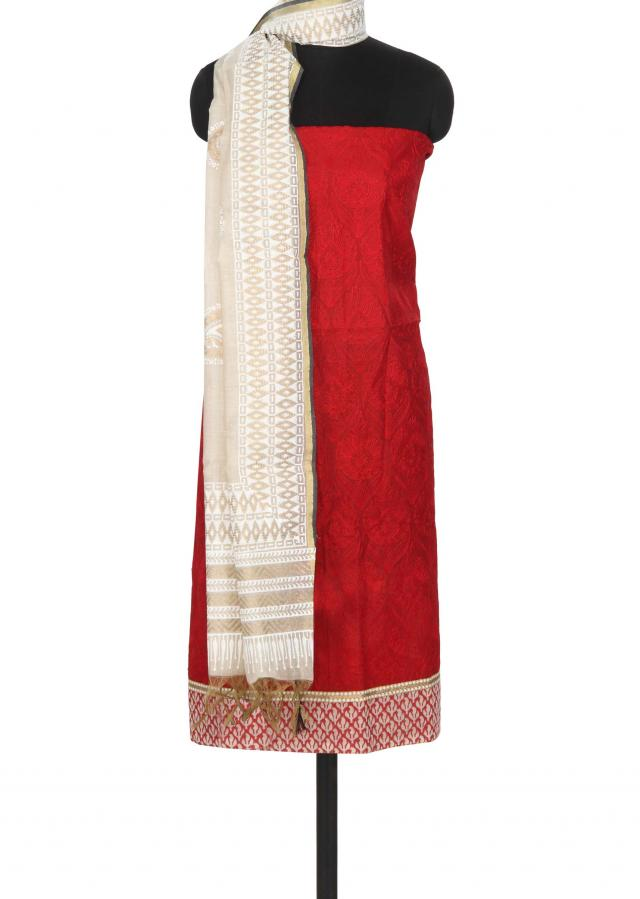 Unstitched suit in red with thread embroidery only on Kalki
