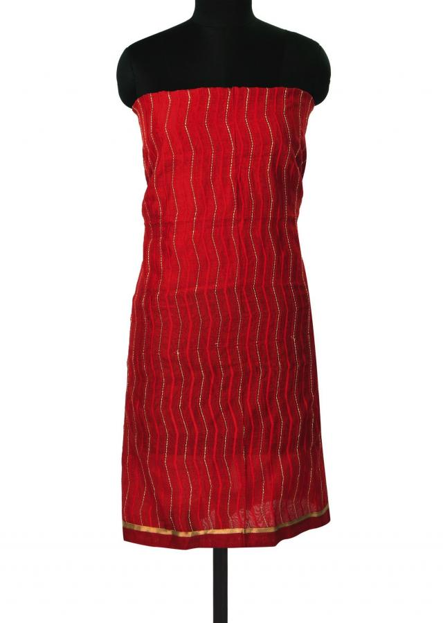 Red unstitched suit with embroidered dupattta only on Kalki