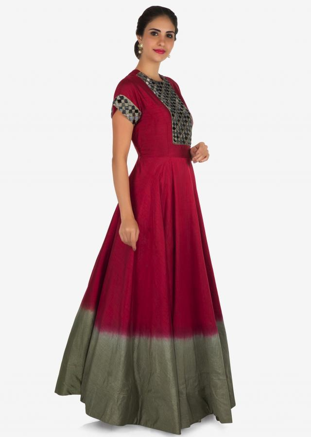 Red and grey anarkali gown in cotton silk beautified in cut dana embroidery work only on Kalki