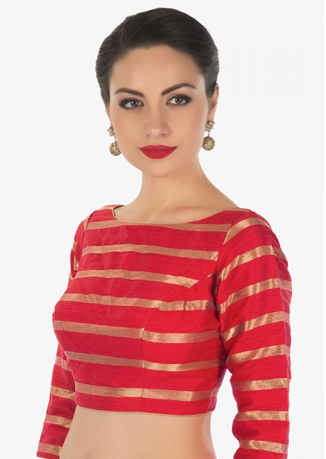 Red blouse in silk with copper color weave in stripes motif only on Kalki