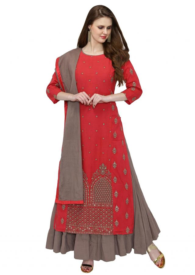 Red Grey Georgette Kurta Skirt Set Studded with Sequins only on Kalki