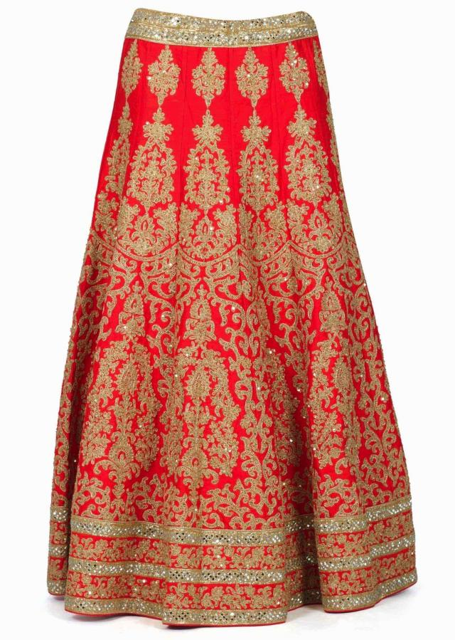 Red lehenga adorn in zari embroidery with sequin only on Kalki