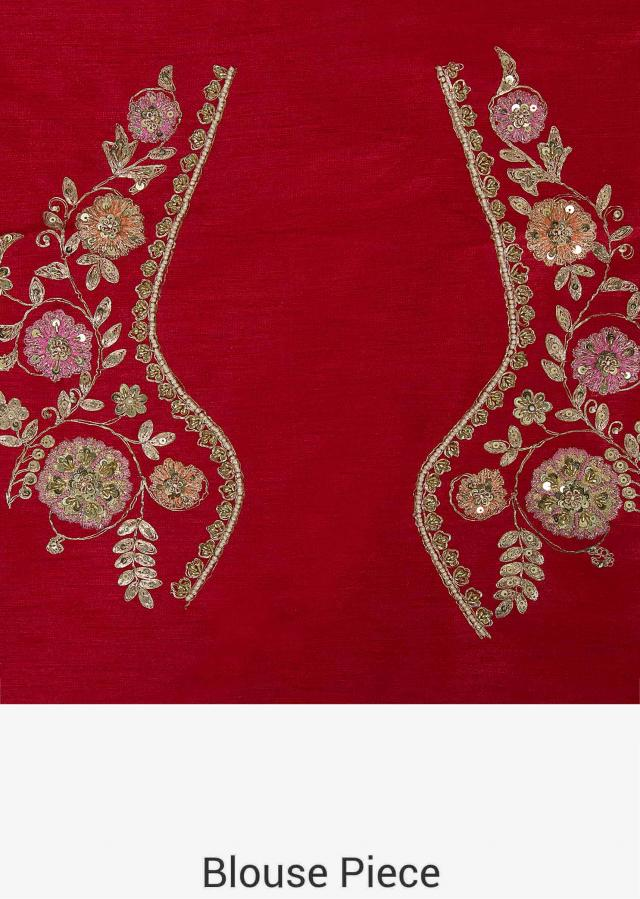 Red Lehenga in raw silk featuring the resham and cut dana embroidery only on Kalki