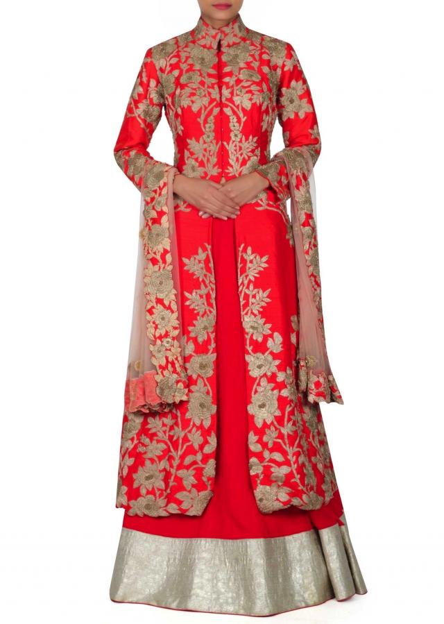Red lehenga matched with embroidered long jacket blouse only on Kalki