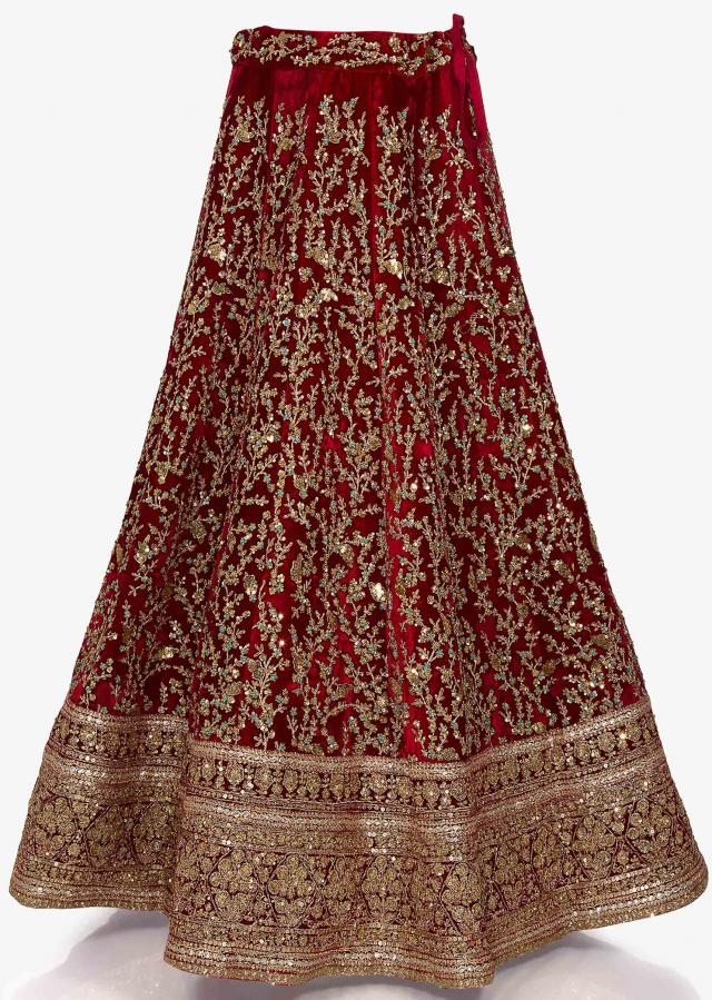 Red velvet lehenga highly elevated in zari sequin work only on Kalki
