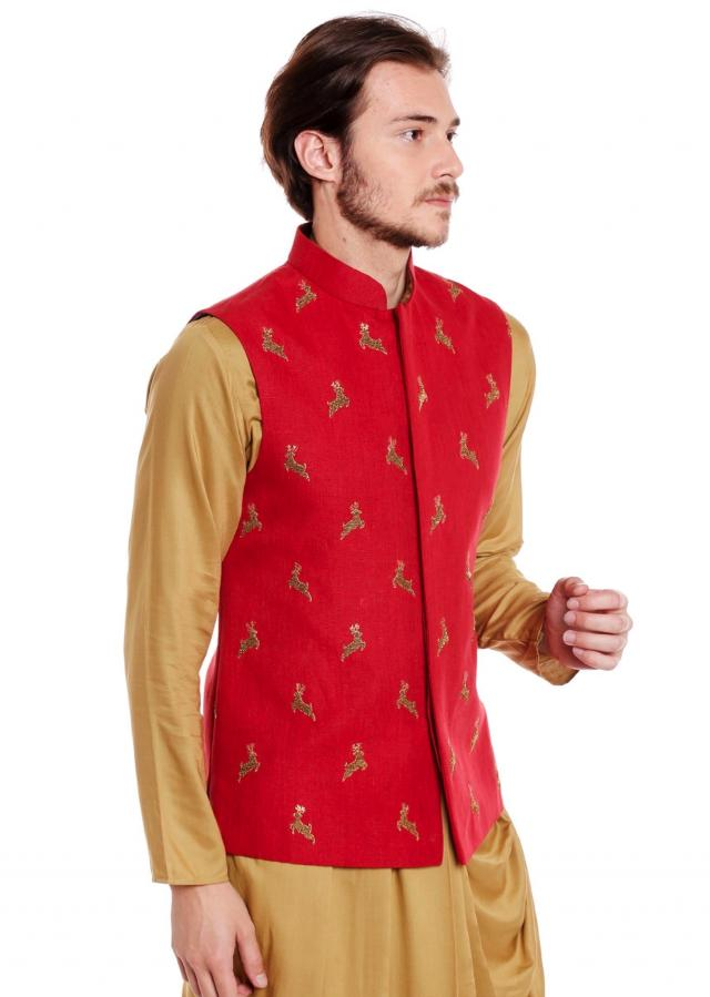Red waistcoat in raw silk embellished with a animal motif in zardosi embroidery only on Kalki