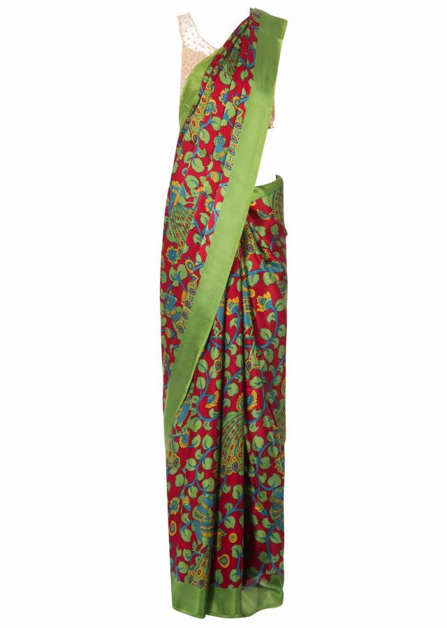 Ribbon red saree in satin with floral print only on Kalki