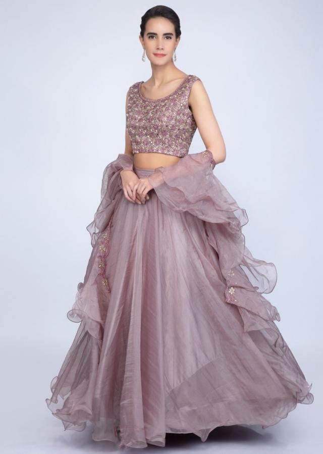 Rich Mauve Lehenga In Organza With Embroidered Blouse And Ruffled Dupatta Online - Kalki Fashion