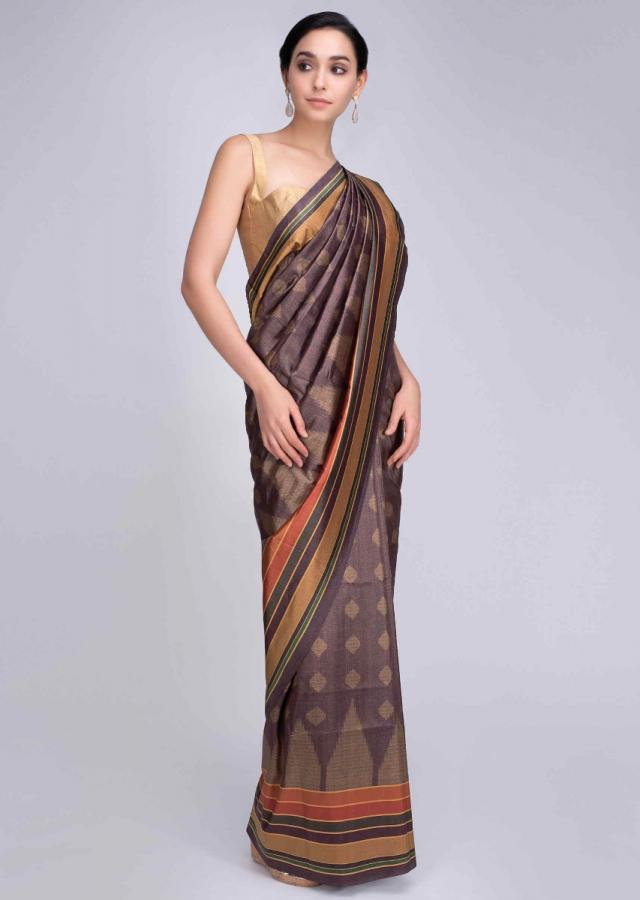 Root purple silk saree with printed butti and multi color striped border only on Kalki
