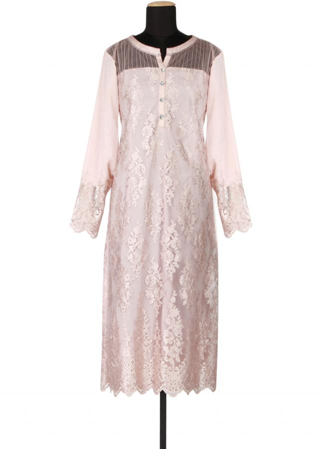 Rose gold satin and net a-line kurti embellished in resham embroidery only on Kalki