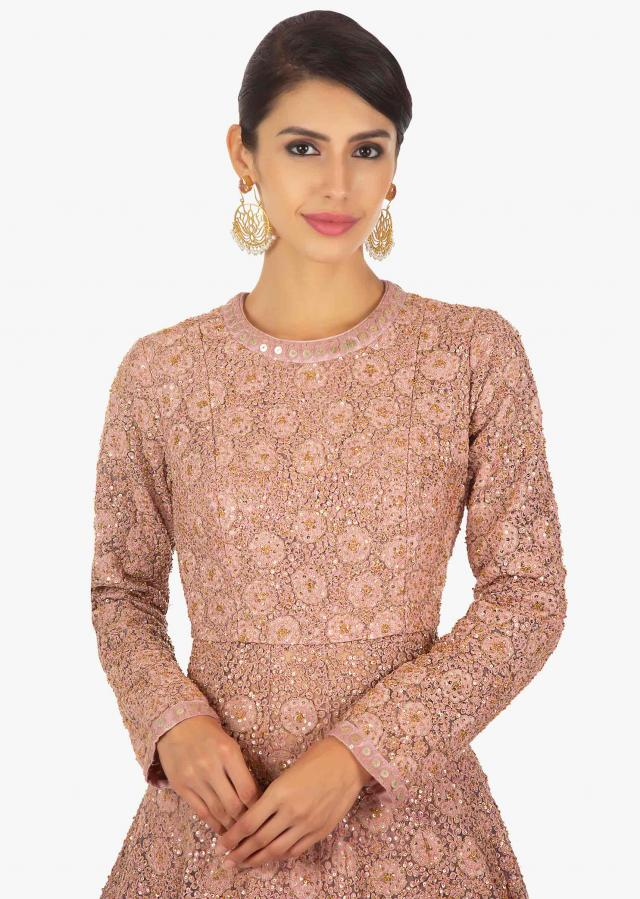RJ Malishka in kalki rose pink lehenga with long net  jacket  in thread embroidery