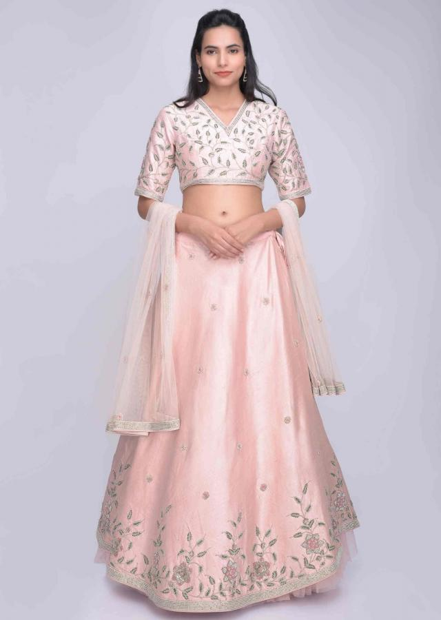 Rose pink raw silk embellished lehenga set with cream net dupatta only on Kalki