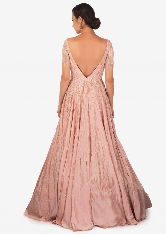 Rose Pink Satin Gown Studded with Cut Dana and Tassels Only on Kalki