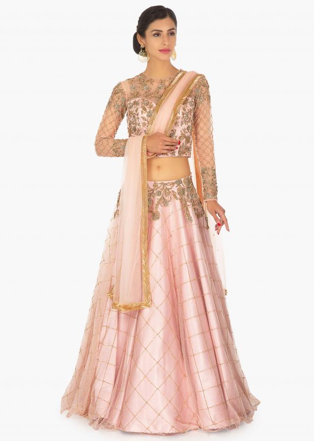 Rose Pink Satin Net Lehenga Choli Set Online - Kalki Fashion
