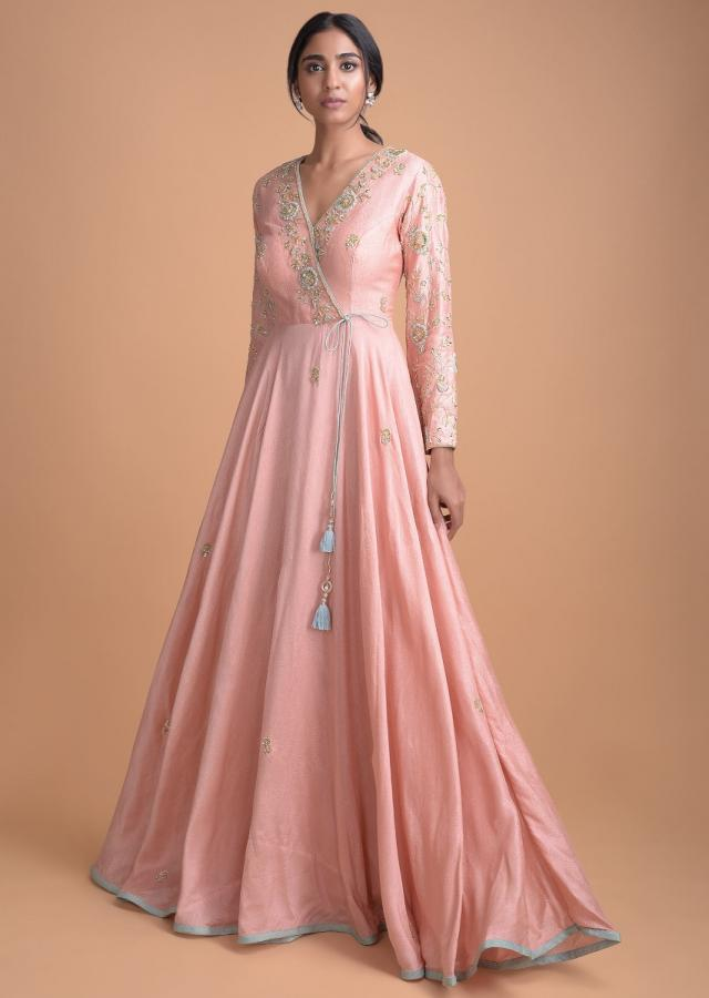 Rose Pink Silk Angrakha Style Suit With Floral Hand Embroidery Online - Kalki Fashion