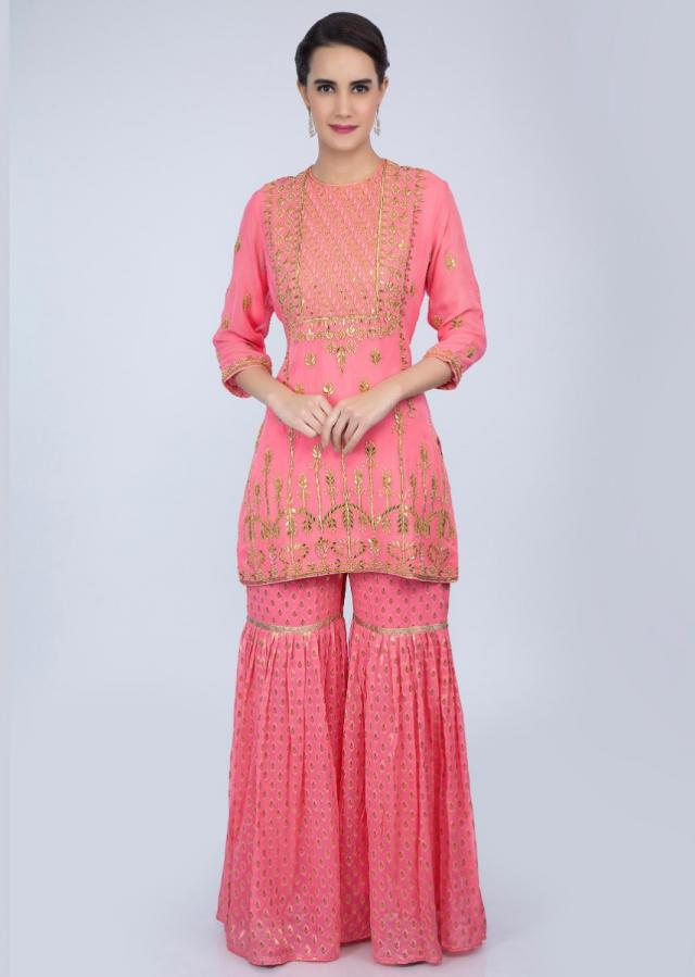 Rouge Pink Sharara Suit Set With Embroidery And Butti Online - Kalki Fashion