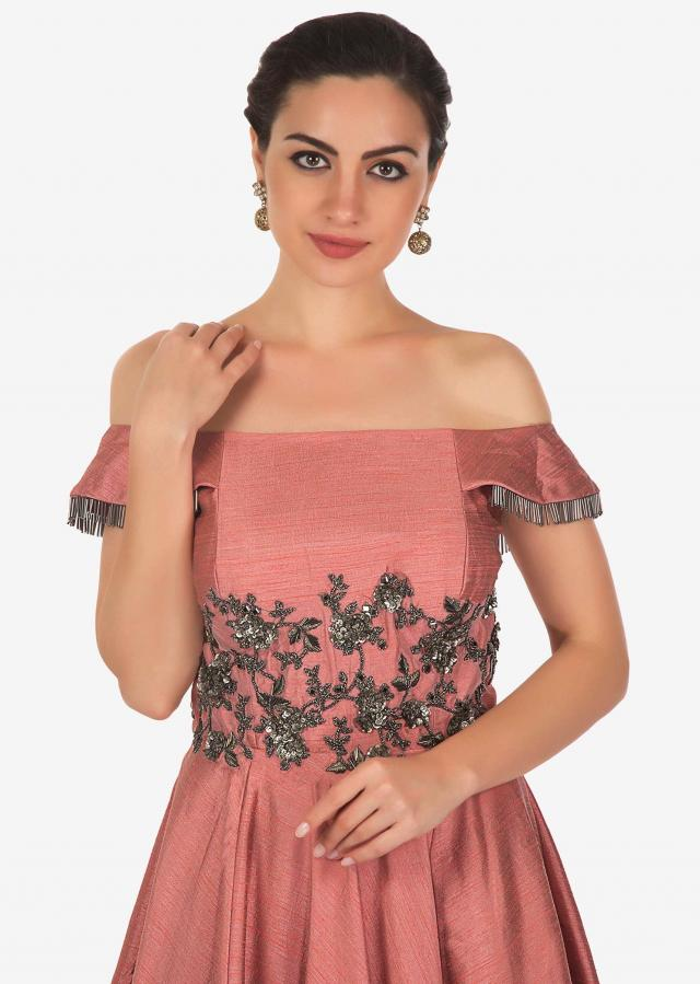Rouge pink gown in raw silk with embroidered bodice and tassel only on Kalki