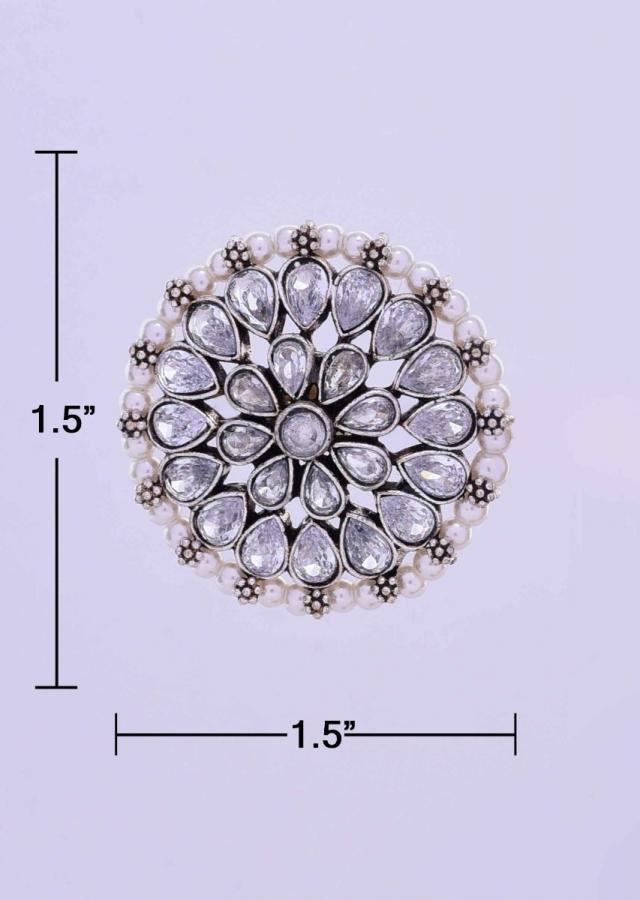 Round floral stud heavily detailed in crystal stones and white pearls only on Kalki