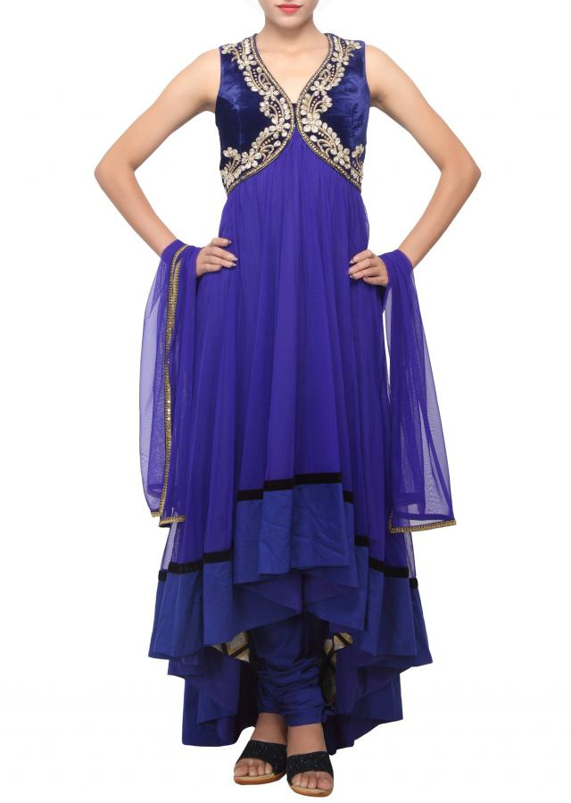 Royal blue anarkali suit embellished in zardosi neckline only on Kalki