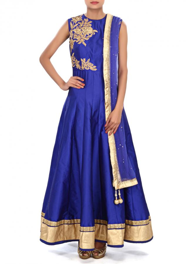 Royal blue anarkali suit embellished in zari and kundan embroidery only on Kalki