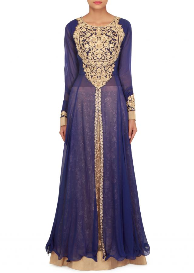 Royal blue anarkali top adorn in french knot embroidery only on Kalki