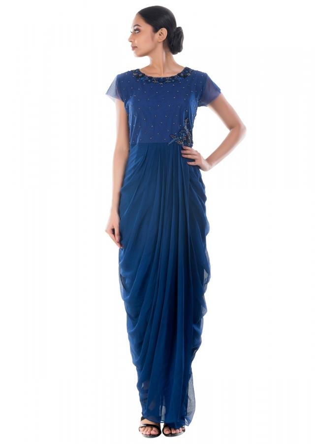 Royal Blue Dhoti Wrap Gown