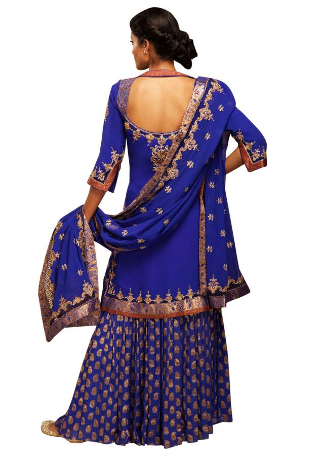 Royal blue garara with embroidered kurti