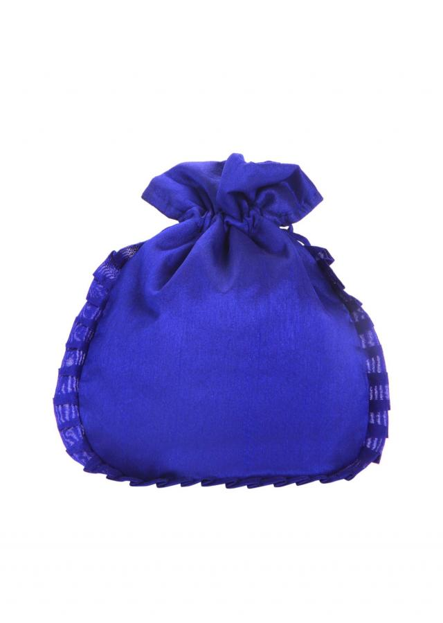 Royal blue gotta patch Work silk Potli Bag only on Kalki