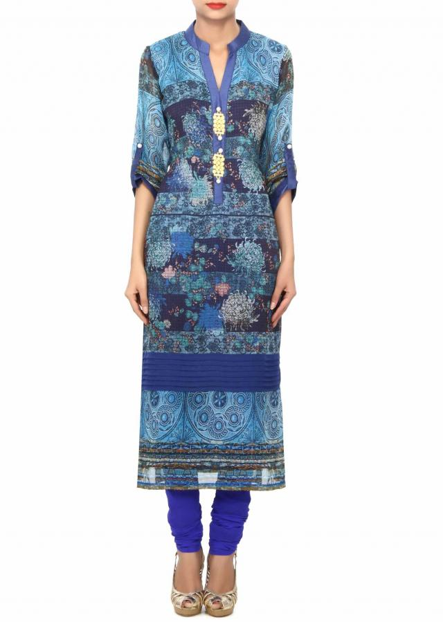 Royal blue printed kurti with highlighted placket only on Kalki