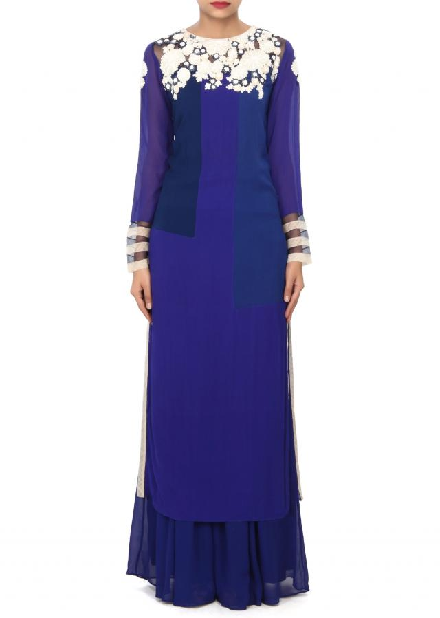 Royal blue straight suit enhanced in thread and sequin embroidery only on Kalki