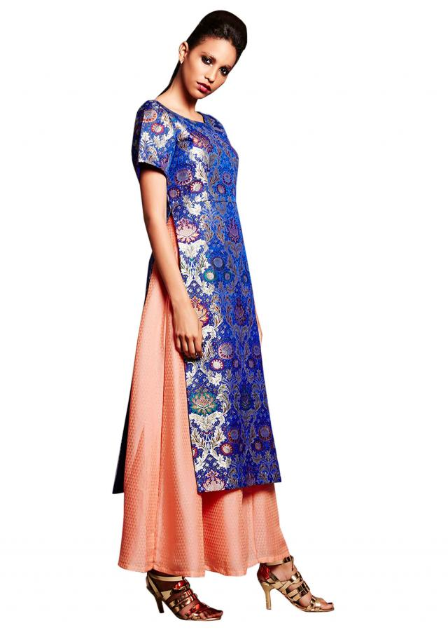 Royal blue straight suit in brocade with palazzo pant only on Kalki