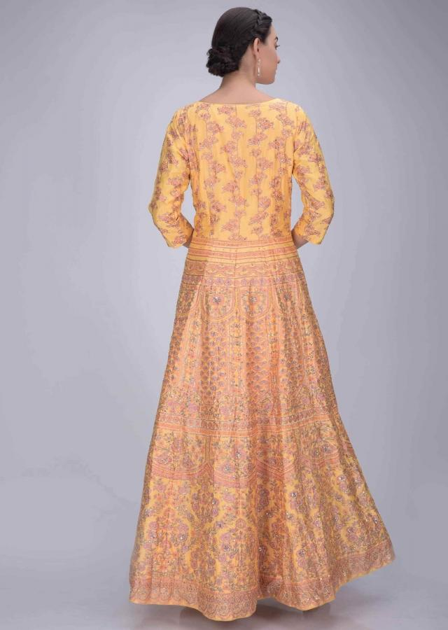 Royal Yellow Anarkali Suit In Silk With Patola Print And Peach Net Dupatta Online - Kalki Fashion