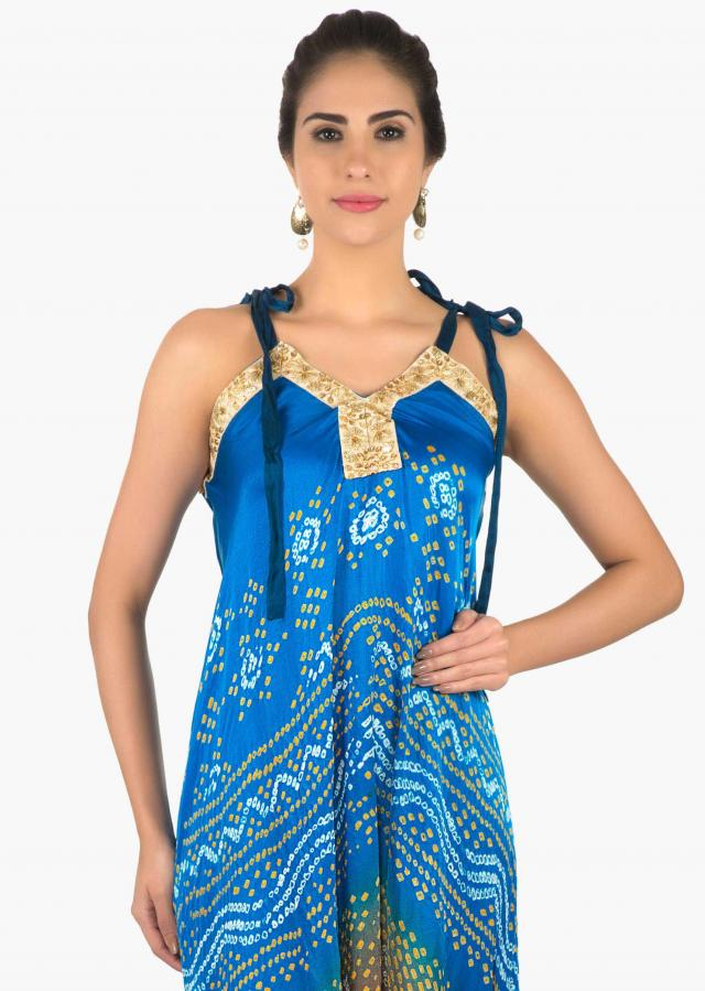 Royal blue and brown bandhani jumpsuit with jacket only on Kalki