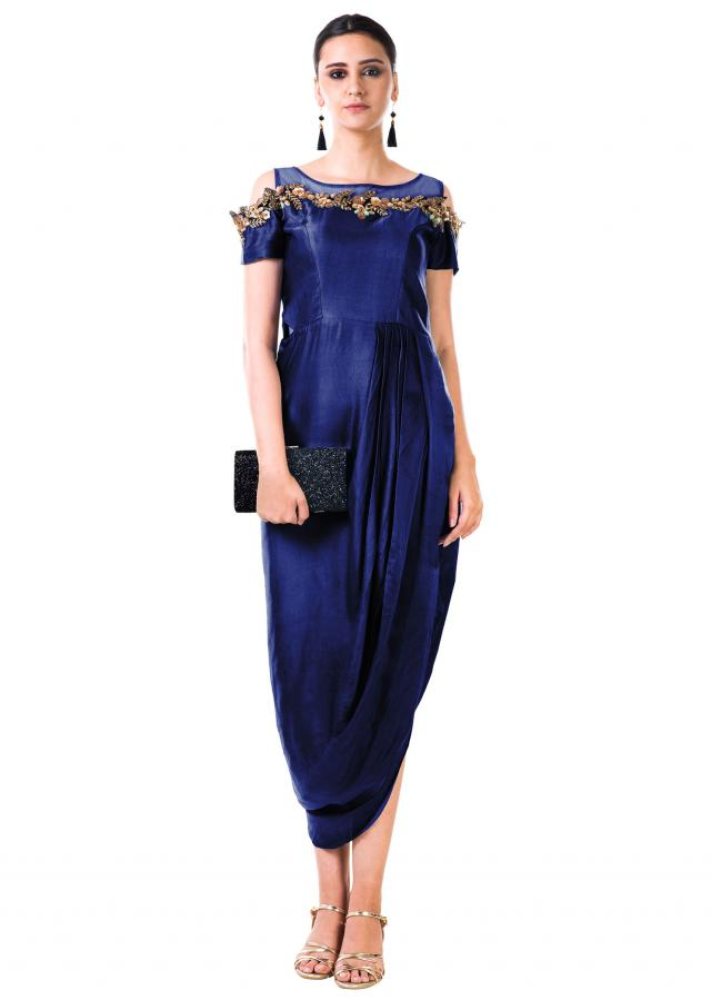 Royal Blue Hand Embroidered Cold Shoulder Draped Gown