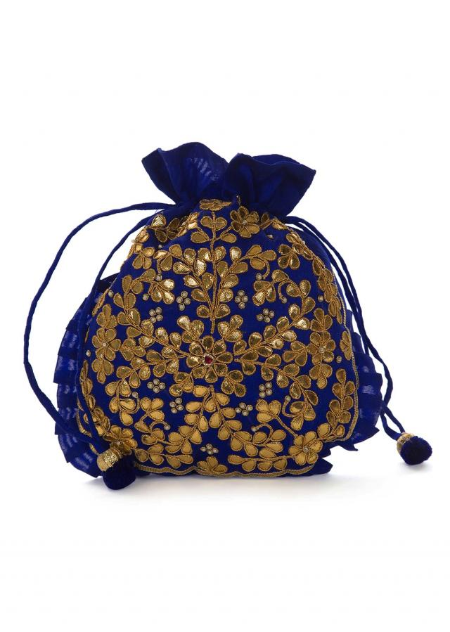 Royal blue  potli bag beautified in gotta patti embroidered work only on Kalki