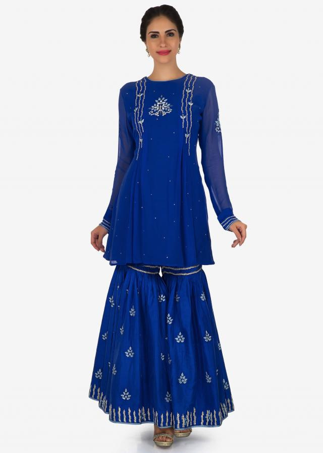 Royal blue sharara suit beautified with resham embroidery work only on Kalki