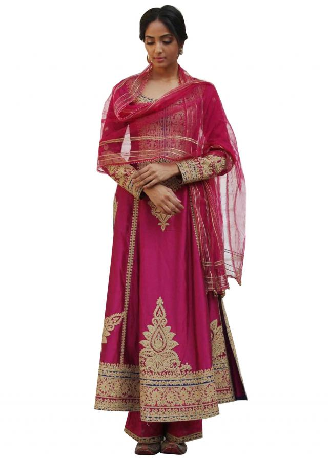 Ruby pink A line embroidered suit matched with silk pants