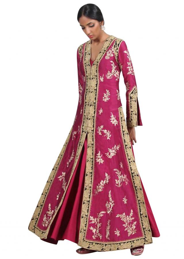 Ruby pink A line embroidered suit with silk sharara