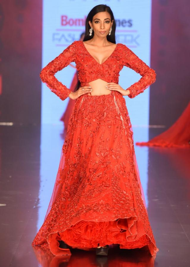 Ruby Red Lehenga Jacket In Heavy Embroidered Net With Tasseled Border Online - Kalki Fashion