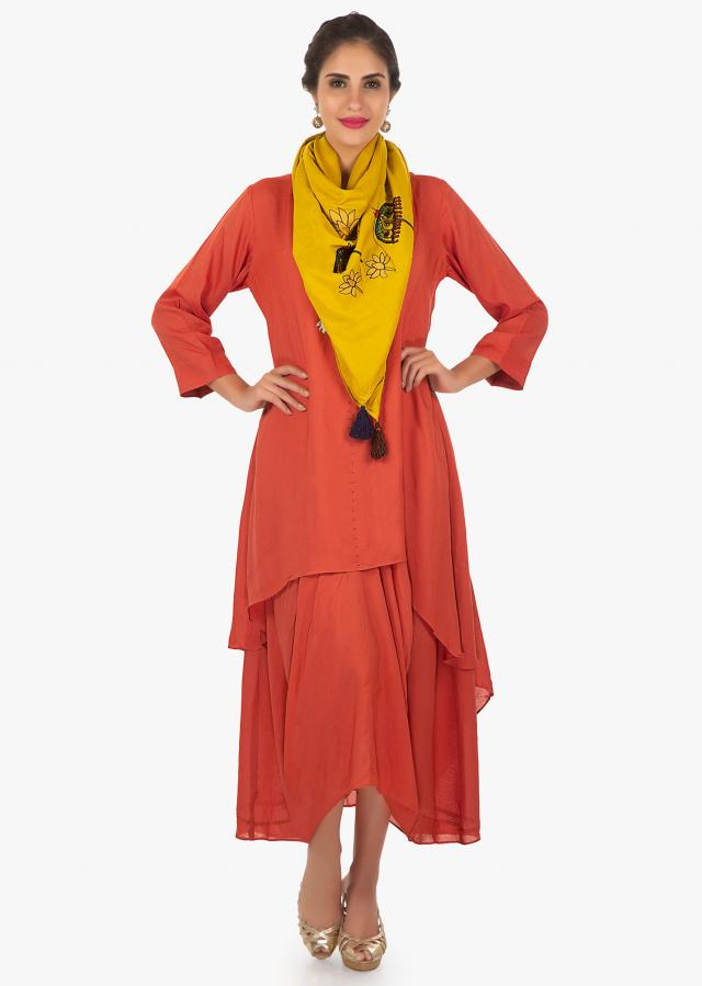 Rust A line cotton double layer suit and a  fancy drape only on Kalki