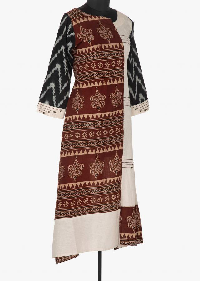 Rust and cream kurti in cotton with traditional and ikkat print only on Kalki