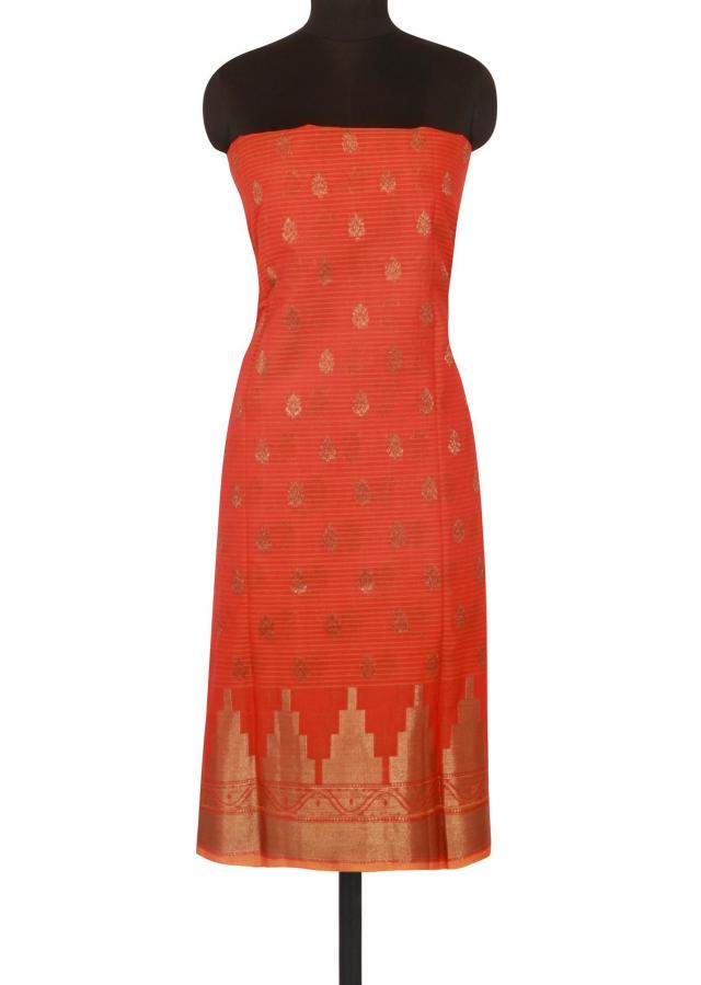Rust and orange unstitched suit in weave butti only on Kalki