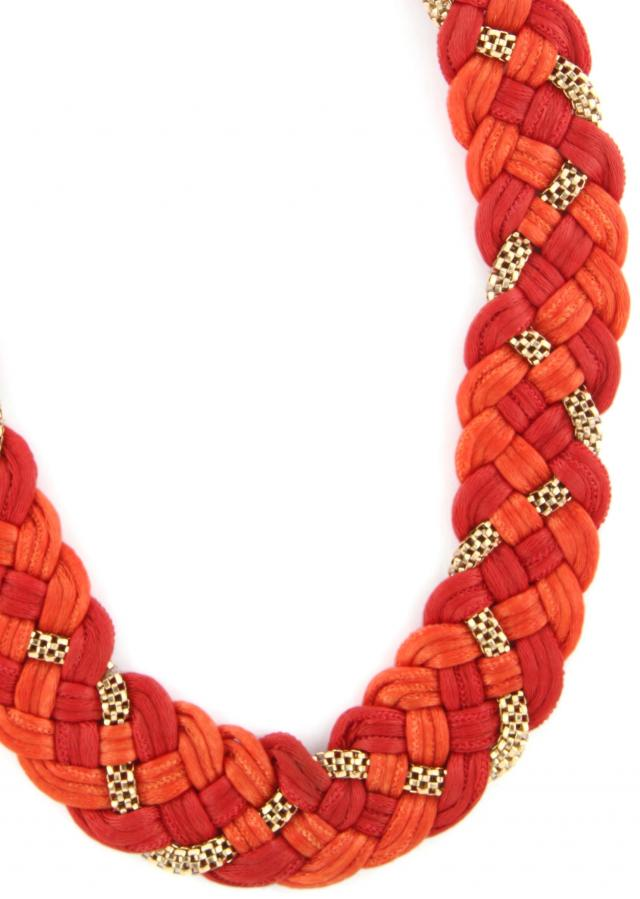 Rust and red moti embellished necklace only on Kalki