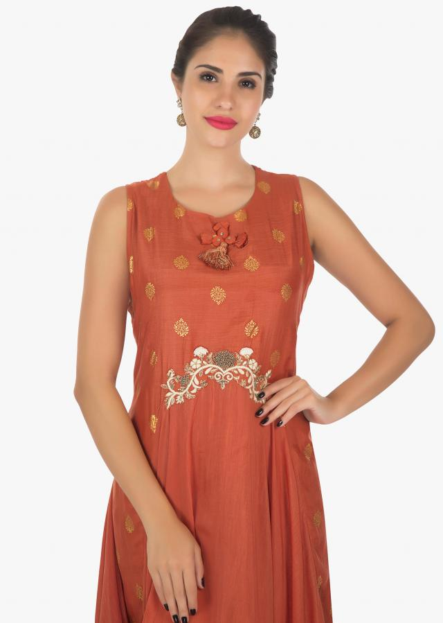 Rust cotton full length fancy kurti with resham and zardosi work only on kalki