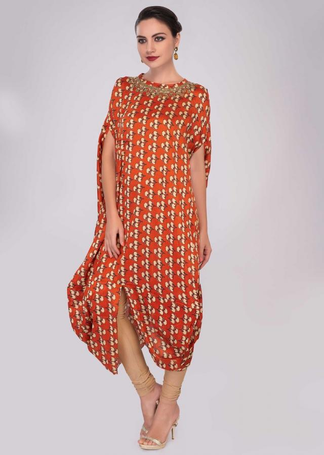 Rust Fancy Cotton Tunic With Floral Printed Butti Online - Kalki Fashion