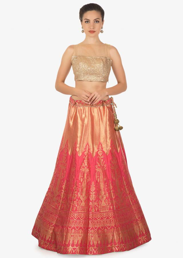 Rust gold brocade silk lehenga with pista green brocade dupatta only on kalki